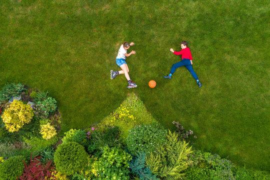children in the garden, top view