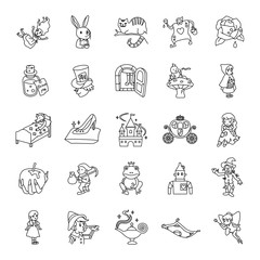 25 Fairy tale outlines vector icons