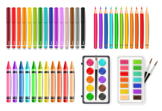 Colorful pen, marker and watercolor palette tools set Vector realistics