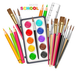 Drawing tools Vector realistic. Brush, watercolor palette, pencils, crayons. Detailed 3d illustrations