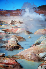Sol de Manana, geysers and geothermal area in Sur Lipez province, Potosi, Bolivia