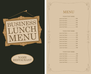 Template vector business lunch menu for restaurant with picture frame and price list in retro style