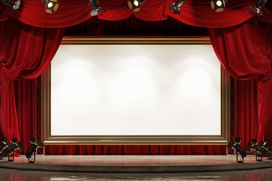 A large picture frame on the theater stage with red velvet curtains. Space for text.