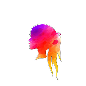 Beautiful girl's face with long blue hair. Watercolor illustration in vector.