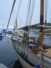 sailing boat in the harbor of rockport, massachusetts, new england, usa
