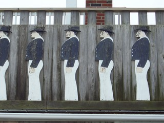 wooden deco figures on a shed in rockport, massachusetts, new england, usa