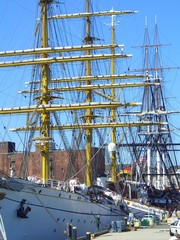 Rigging of Tall Ships in Boston Harbor, Boston, Massachusetts, New England, USA