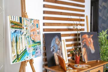 Interior of modern artist's workshop