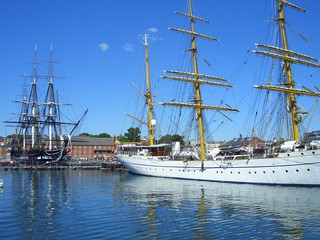 Gorch Fock and USS Constitution in Boston Harbor, Boston, Massachusetts, New England, USA