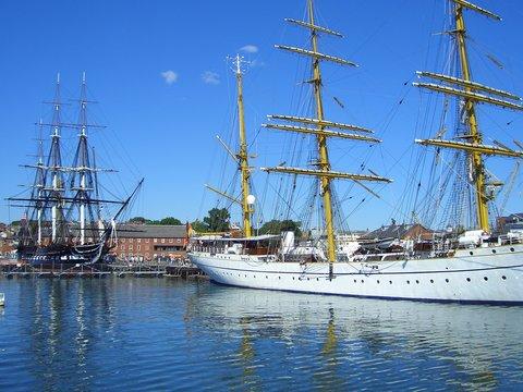 Gorch Fock and USS Constitution in Boston Harbor, Boston, Massachusetts, New England, USA