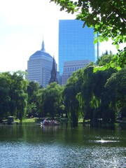 John Hancock Tower from Public Garden in Boston, Massachusetts, New England