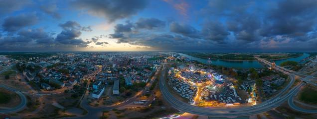 360° Luftbild Stadt Worms Backfischfest 2018