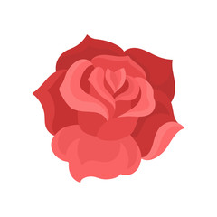 Flat vector icon of rose bud. Gentle flower with red petals. Nature theme. Element for t-shirt print or postcard