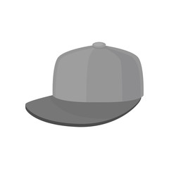 Flat vector icon of gray baseball cap. Hat with hard sun visor. Unisex headwear. Trendy accessory
