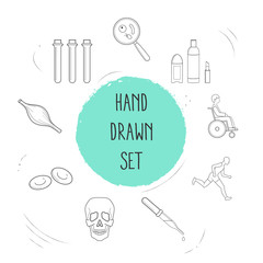 Set of anatomy icons line style symbols with skull, dropper, beauty products and other icons for your web mobile app logo design.
