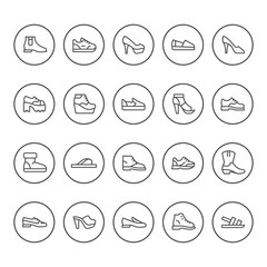 Set round line icons of shoes