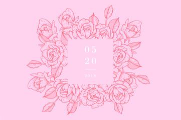 Vintage card with rose flowers. Floral wreath. Flower frame for wedding invitation. Summer floral rose greeting card. Flowers background.