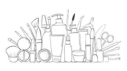 Beauty blog or makeup store hat. Beauty salon and make-up produkts. Drawing hands