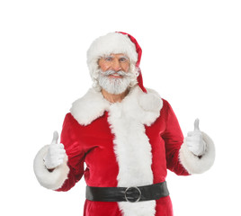 Portrait of Santa Claus showing thumb-up on white background