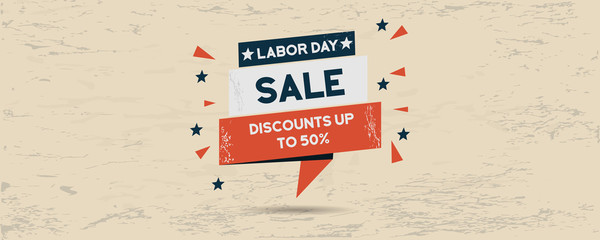 Labor Day celebration sales panorama banner
