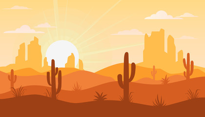 Landscape with desert and cactus