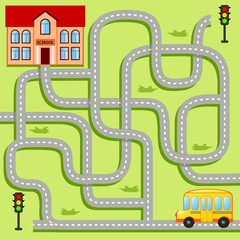 Help school bus find path to school. Labyrinth. Maze game for kids
