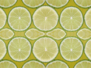 water drop with green lemon slices pattern background.