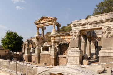 Ruins of the Fountain of Traian in the city of Ephesus in Turkey