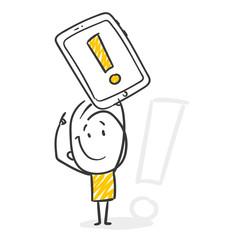 Strichfiguren / Strichmännchen: Tablet, Ausrufezeichen. (Nr. 288)