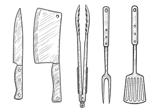 Knife, hatchet, spatula, fork, forceps, illustration, drawing, engraving, ink, line art, vector