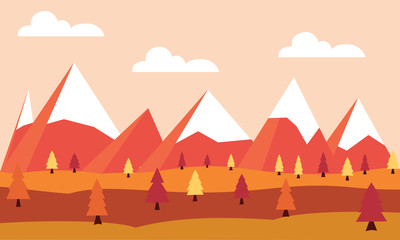 Flat vector landscape Illustration in autumn. Vector background with mountains and trees.