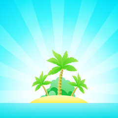 Cartoon Seascape with Exotic Island in Ocean under Clean Blue Sky - Poster Template for decoration Tour for Best Island of The World.