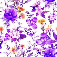 Summer flowers, meadow grasses, spring herbs. Seamless natural background. Watercolor in ultra violet color