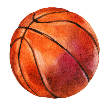 Watercolor sketch of basketball ball on white background.