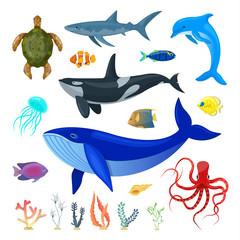 Set of ocean animals