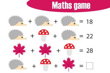 Maths game with pictures (autumn theme) for children, middle level, education game for kids, preschool worksheet activity, task for the development of logical thinking, vector illustration