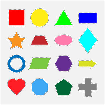 Different colorful geometric shapes for children, fun education game for kids, preschool activity, set of stickers, vector illustration