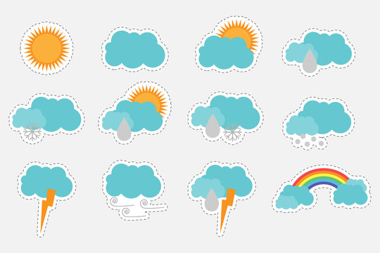 Different colorful pictures of weather for children, fun education game for kids, preschool activity, set of stickers, vector illustration