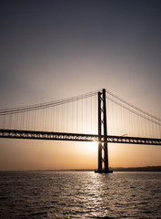 25 de Abril Bridge and the River Tagus at sunset