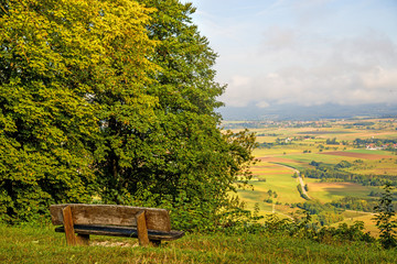 Panoramic views of the hill Hohenstaufen to the east of Germany Wall mural