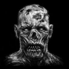 Grim zombie apocalyptic face.