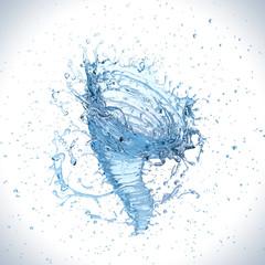 Water splash into a vortex or twister shape , liquid Tornado or whirlpool.