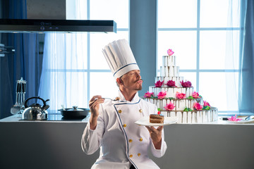 The chef really like cooked cake