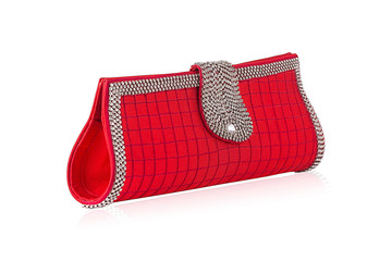 Women cute small bright red color check clutch decorated with silver stones that make it more unique and elegant. You can easily carry this bag in any occasion.