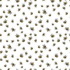 Photo sur Plexiglas Artificiel Cute seamless bee pattern vector