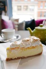 Lemon cake with tea at home
