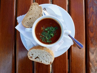 Goulash soup outdoors on a table