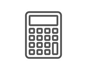 Calculator line icon. Accounting sign. Calculate finance symbol. Quality design element. Classic style calculator. Editable stroke. Vector