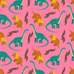 Cute pink seamless pattern with cartoon dinosaurs for kids textile. Bright childish texture with diplodocus, pterodactyl, triceratops characters for children cloth, wrapping paper, cover, background