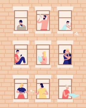 Neighbors and neighborhood. Exterior of building with opened windows and people living inside. Men and women drinking tea, reading, kissing in their apartments. Flat cartoon vector illustration.